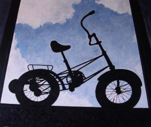 Contre-jour XVI (Black Bike) - oil on linen, 100x120 cm, 2010