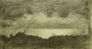 Sky 42 - charcoal and chalk on paper, 27x50cm, 2015