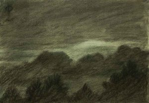 Sky 47 - charcoal and chalk on paper, 21.4x30.5cm, 2015