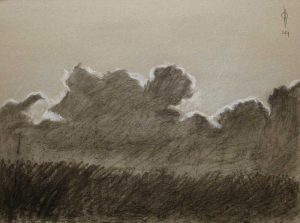 Sky 8 - charcoal and chalk on paper, 29.5x40 cm, 2014